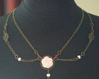 Collier, Rose, Necklace, Steampunk, red, Rosa, Handmade, Unique, Unikat,