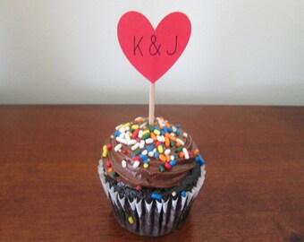 Custom Initial Hearts Cupcake Toppers