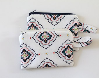 coin purse, pocket wallet, change purse, mini zipper pouch, earbud pouch, business card holder, Navy Blue white red, id holder, small bag