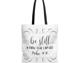 Bible Study Tote Bag / Scripture Tote Bag / Bible Verse Tote / Be Still Tote / Christian Gift / Women Gift / Bible Verse Bag / Church Bag