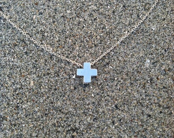 Cross Necklace, Tiny Cross Pendant, Silver Cross