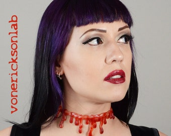 Horror Jewelry - Halloween Jewelry - Natural Bloody Drip   Necklace - Vampire Slit throat  choker  necklace Extra Drippy