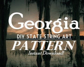 """Georgia - DIY State String Art Pattern - 10"""" x 9"""" - Hearts & Stars included"""