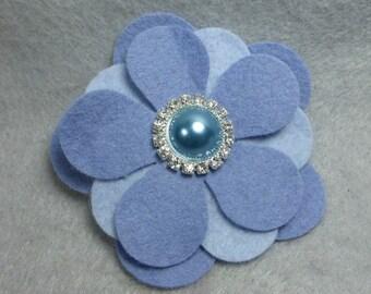 Felt Flower Barrette - Blue Felt Hair Clip