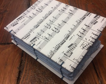 Music journal, handmade paper journal, sketch book, travel journal, guest book, recycled guestbook, recycled diary, sheet music, hand bound