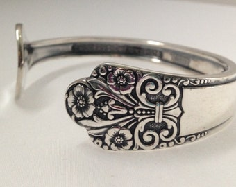 Spoon Bracelet. Cuff Bracelet. Precious 1941 Spoon Jewelry. Silverware Jewelry. Silver Bracelet.