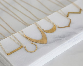 Geometric Hammered Brass Necklaces - Seven different shapes - Simple Gold jewelry