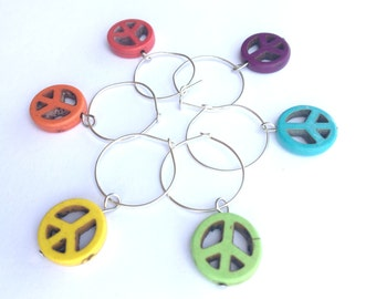 Wine Markers, Wine Glass Markers, Markers Wine Glass, Peace Sign, Wine Glass Charms, Wine Accessories, Unique Wine Charms, Wine Lover Gift
