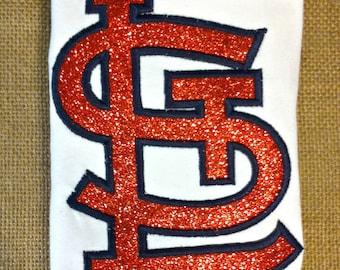 St Louis Cardinals Baby Girl Sparkly Logo Shirt