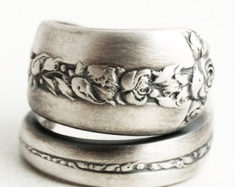 Silver Rose Ring, Floral Spoon Ring, Sterling Silver Spoon Ring, Floral Wedding Ring, Rambler Rose, Handmade Jewelry, Adjustable Ring (6620)
