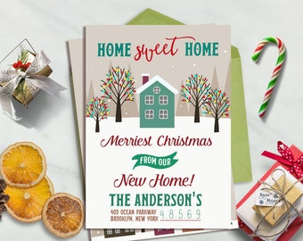 Moving Announcement, Christmas Moving Card, New Home Announcement, Moving Card, Moving announcement printable, New Home Christmas Card