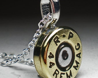 """44 Magnum Remington Brass Bullet Head Pendant with 18"""" Chain Necklace Steampunk"""