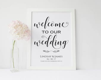 Personalised Welcome to our Wedding A3 Poster in white, ivory or kraft brown -Unbacked/Unframed-FREE UK postage