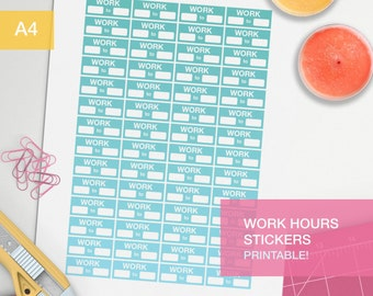 Work hours stickers for planner - A4 - printable, print at home, digital prints - erin condren - bullet journal - green yellow teal