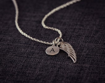 Angel Wing and Initial  Necklace,  Letter Necklace, Name, Personalized, Sterling Silver, Wing Necklace, Angel Wings, Faith Pendant