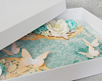 A5 luxury handmade butterfly birthday card, thank you card, butterfly greeting card