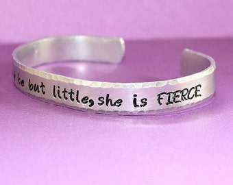 Hand Stamped Cuff Bracelet - Message Jewelry - She Is Fierce
