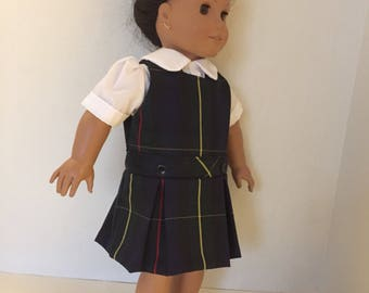 American Girl Doll inspired School Uniform plaid 55 or Lands End Hunter Classic Navy Plaid for 18 inch doll