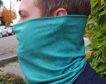 NECK GATOR GAITER Teal Snakeskin Faux Knit Adult Sizes
