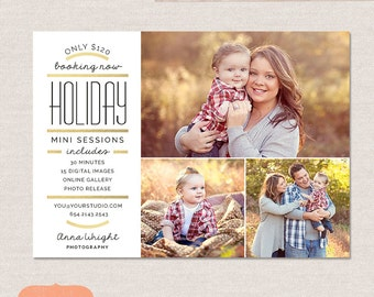Holiday mini session template marketing board -  Gold Stripes MC004 -  INSTANT DOWNLOAD