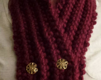 Maroon knit scarf,  chunky scarf, thick scarf, knitted scarf, homemade scarf, Valentine's Day, winter scarf, gift for her