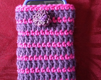 Crocheted Cell Phone sock.  Will fit most smart phones including iPhone, Samsung, Droid, etc