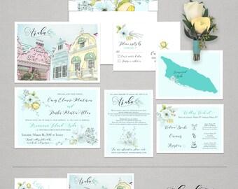 Aruba Oranjestad Destination wedding illustrated wedding invitation Aruban Caribbean floral wedding invitation Deposit Payment