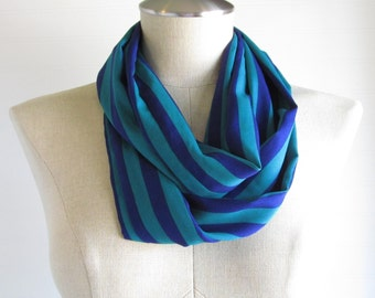 Blue and Green Striped Scarf - Striped Infinity Scarf - Blue Circle Scarf - SALE