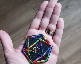 Dungeons and Dragons d20 patch dice die roleplaying game dungeon master gift d4 d6 d8 wizard dragon orc rpgs dnd