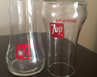 Set of 2- Upside down 7 UP Glasses
