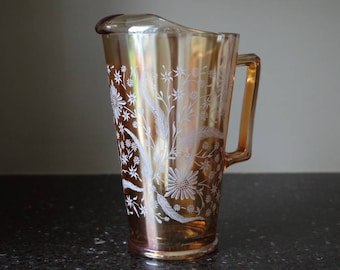 Jeannette Glass Co. Peach Cosmos Pattern Pitcher