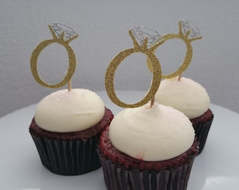12 Diamond Engagement Ring Cupcake Toppers!!!!!