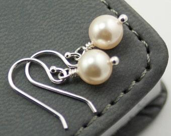 Wedding Jewelry Pearl Earrings Cream Swarovski Pearls Simple Drop Earrings Ivory Pearl Earrings Bridal Jewelry Sterling Silver