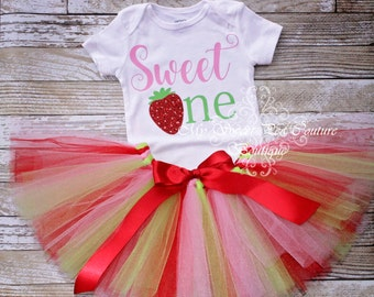 Sweet One First Birthday Tutu Outfit- Cake Smash Outfit- 1st Birthday Outfit- Strawberry Birthday- First Birthday- Strawberry Shortcake