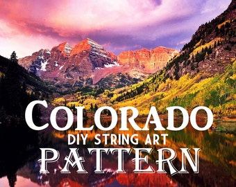 """Colorado - DIY State String Art Pattern - 8"""" x 10"""" - Hearts & Stars included"""