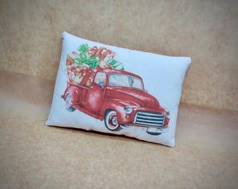 Red Pickup Truck decor | Classic Truck | Vintage Truck | Antique Truck |  | Christmas pillow | Stocking Stuffer | farmhouse pillow decor
