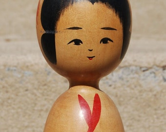 Vintage JAPANESE KOKESHI Wooden DOLL - Colorful and in Great Condition