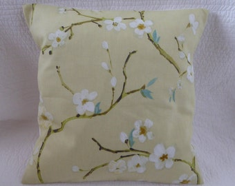 "16"" Cushion Cover Cherry Blossom Print Yellow Teal Green New Handmade 40cm"