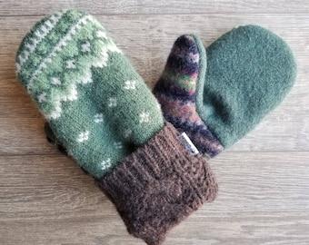 Best Wool Sweater Mittens // Womens Sweater Mittens // Fleece Lined mittens // Green and Brown