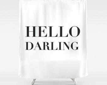 Hello Darling Shower Curtain, Black and White Bath Curtain, Girls Bathroom Decor, Fabric Shower Curtain, Standard or Extra Long