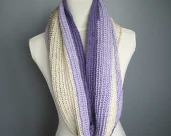 Hand crochet cowl, scarf, infinity scarf, wraparound scarf in beautiful purple, cream, beige tones