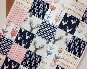 Baby Girl Quilt, Rustic Baby Quilt, Woodland Baby Quilt, Deer, Arrows, Fawn, Rustic Nursery, Woodland Crib Bedding, Q-15
