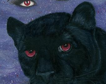 Carmilla Black Panther Vampire Victorian Red Eyes Penny Dreadful Gothic Cat Fantasy Cat Art Print 5x7 Cat Lovers Art