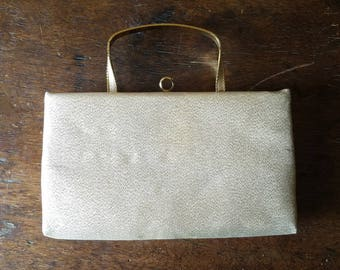 Vintage gold clutch, After Five gold metallic clutch, 1960s evening bag, clutch with pop-up handle, mid-century clutch, vintage gold handbag