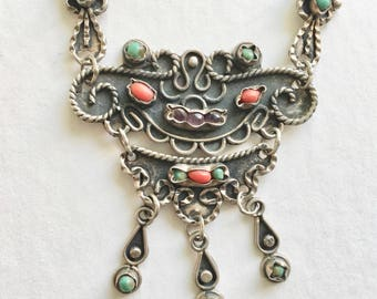 vintage sterling Mexican matl necklace