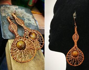 Tigers eye and woven copper drop earrings