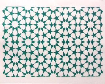 linocut - TESSELATION // 9x12 art print // printmaking // block print // green // geometric design // stars // pattern // zellige// 8x10