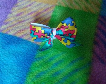 Small autism awareness bow