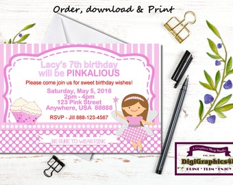 Pink Fairy or Pinkilious Birthday Party Invitation for Girls - Personalized Printable File