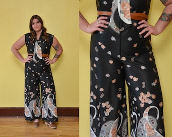 70s Paisley Jumpsuit Bell Bottoms Jumpsuit Wide Leg Pants Hippie Boho Floral Print Black Pink Bow Tie Pantsuit Plus Size Jumper